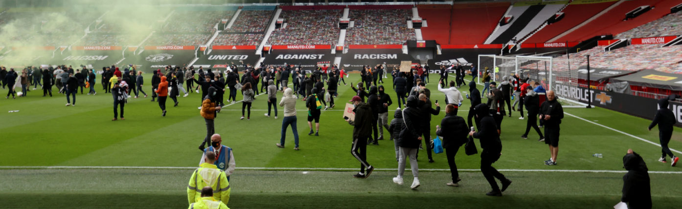 Man Utd v Liverpool kick-off delayed as protesting fans invade Old Trafford pitch